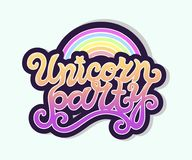 Testo di Unicorn Party come logotype, distintivo, toppa, icona isolata su fondo Immagine Stock