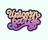 Testo di Unicorn Party come logotype, distintivo, toppa, icona isolata su fondo Fotografia Stock
