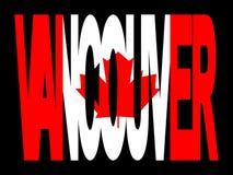 Testo di Vancouver con la bandierina illustrazione vettoriale