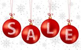 Testo di vendita delle bolle di Natale Fotografie Stock Libere da Diritti
