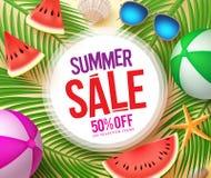 Testo di vendita di estate nel cerchio bianco con gli elementi variopinti di estate di vettore illustrazione di stock