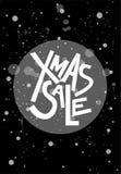 Testo di vendita di natale di Natale, stampa, manifesto, decorazione di inverno, phot Immagine Stock