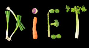 Testo di verdure di dieta su priorità bassa nera Fotografia Stock