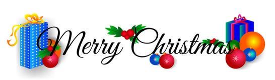 Testo di vettore di Buon Natale su un fondo bianco con l'illustrazione dei regali e dei giocattoli di Natale Fotografia Stock Libera da Diritti