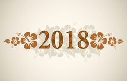Testo di vettore 2018 con i fiori tropicali dell'ibisco immagine stock