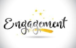 Testo di vettore di parola di impegno con la traccia dorata e Handwri delle stelle Illustrazione Vettoriale