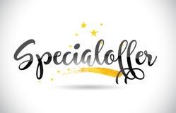 Testo di vettore di parola di Specialoffer con la traccia dorata e Handwr delle stelle Illustrazione Vettoriale