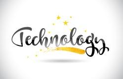 Testo di vettore di parola di tecnologia con la traccia dorata e Handwrit delle stelle Illustrazione Vettoriale