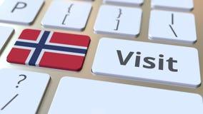 Testo di VISITA e bandiera della Norvegia sui bottoni sulla tastiera di computer Animazione concettuale 3D video d archivio