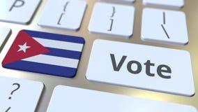 Testo di VOTO e bandiera di Cuba sui bottoni sulla tastiera di computer L'elezione ha collegato l'animazione concettuale 3D stock footage