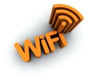 Testo di WiFi con l'icona dell'antenna Fotografia Stock Libera da Diritti