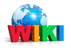 Testo di Wiki e globo della terra Fotografie Stock Libere da Diritti