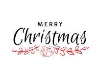 Testo disegnato a mano di Buon Natale con la campana Fotografie Stock