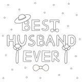 Testo disegnato a mano sempre del migliore marito con il legame ed il cappello Fotografia Stock