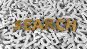 Testo dorato del ` di ricerca del ` sulla pila di lettere bianche illustrazione 3D royalty illustrazione gratis