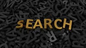 Testo dorato del ` di ricerca del ` sulla pila di lettere illustrazione 3D illustrazione di stock