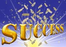 Testo dorato di successo. Fotografie Stock