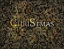 Testo dorato su fondo nero Iscrizione del buon anno e di Buon Natale per la cartolina d'auguri e dell'invito, le stampe ed i mani Fotografia Stock Libera da Diritti