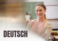 Testo e maestro di scuola di Deutsch con classe Fotografie Stock Libere da Diritti