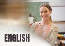 Testo e maestro di scuola inglesi con classe Immagini Stock Libere da Diritti