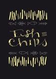 Testo ed illustrazione disegnati a mano di pesce e patate fritte Fotografia Stock
