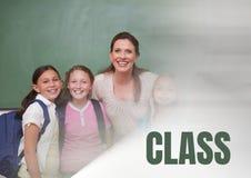 Testo ed insegnante della classe con classe Fotografia Stock