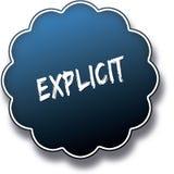 Testo ESPLICITO scritto sul distintivo rotondo blu dell'etichetta Immagine Stock Libera da Diritti