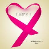 Testo 4 febbraio, giorno del cancro del mondo Fotografia Stock