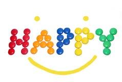 Testo felice con lo smiley Fotografia Stock Libera da Diritti