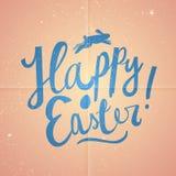 Testo felice del fumetto di Pasqua Carta di pasqua d'annata rosa Immagine Stock