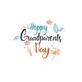 Testo felice dell'insegna della cartolina d'auguri di giorno dei nonni sopra fondo bianco Fotografie Stock