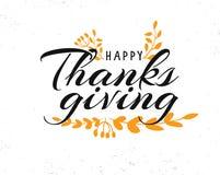 Testo felice di calligrafia di ringraziamento con le foglie illustrate Fotografie Stock
