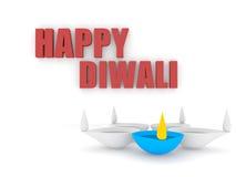 testo felice di diwali 3d con il gruppo di diya Fotografia Stock