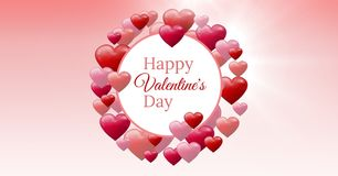 Testo felice di giorno del ` s del biglietto di S. Valentino e cuori pieni di bolle dei biglietti di S. Valentino con il cerchio  Immagine Stock