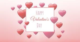Testo felice di giorno del ` s del biglietto di S. Valentino e cuori pieni di bolle dei biglietti di S. Valentino con la scatola  Immagine Stock