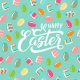 Testo felice di Pasqua con il coniglietto Fotografia Stock