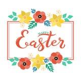 Testo felice di Pasqua con la struttura del fiore Fotografia Stock Libera da Diritti