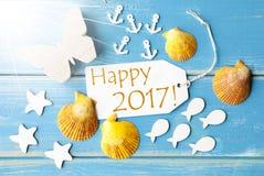 Testo 2017 felice di Sunny Summer Greeting Card With Immagini Stock Libere da Diritti