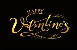 Testo felice disegnato a mano di giorno del ` s del biglietto di S. Valentino, oro strutturato Immagini Stock
