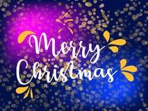 Testo fisso di deco del corno francese di Buon Natale Logo di vettore, tipografia Utilizzabile come l'insegna, la cartolina d'aug Immagine Stock