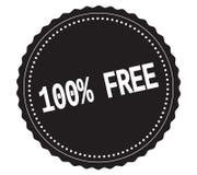 Testo 100%-FREE, sul bollo nero dell'autoadesivo Fotografie Stock Libere da Diritti