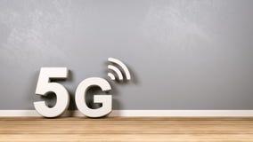 testo 5G sul pavimento di legno contro la parete royalty illustrazione gratis