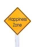 Testo giallo del segnale stradale per la zona di felicità isolato su bianco Fotografia Stock Libera da Diritti
