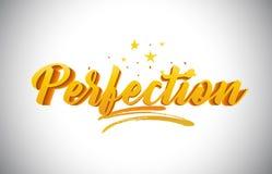 Testo giallo dorato di parola di perfezione con l'illustrazione vibrante di vettore di colori dell'oro scritto a mano royalty illustrazione gratis