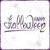 Testo Halloween felice con i ragni Fotografia Stock