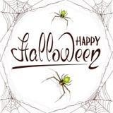 Testo Halloween felice in ragnatela Fotografie Stock Libere da Diritti