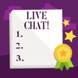 Testo Live Chat della scrittura Conversazione di significato di concetto sulla comunicazione su mezzi mobili di multimedia di Int illustrazione di stock