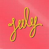 Testo luglio su uno schiocco rosa Art Background Fotografie Stock