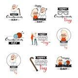 Testo messo insegne felici della cartolina d'auguri di giorno dei nonni sopra fondo bianco Fotografia Stock Libera da Diritti