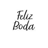 Testo moderno di calligrafia di nozze felici nello Spagnolo Iscrizione scritta a mano Vettore Fotografie Stock